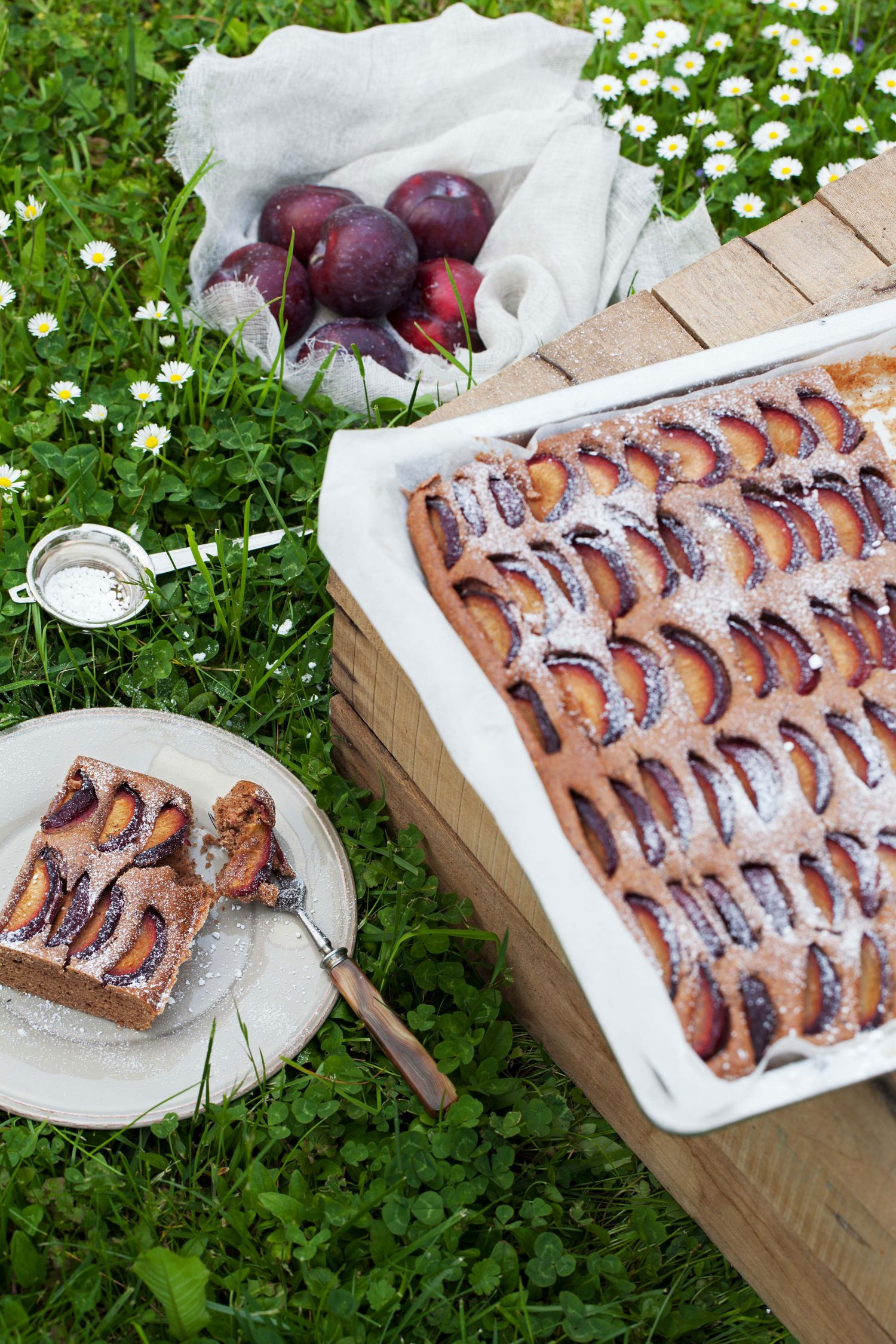 Nutty Plum Cake with Chocolate and Red Wine