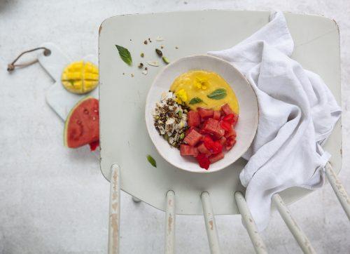 Bild für Mango-Kokos-Creme, Wassermelone & Pistazien-Granola
