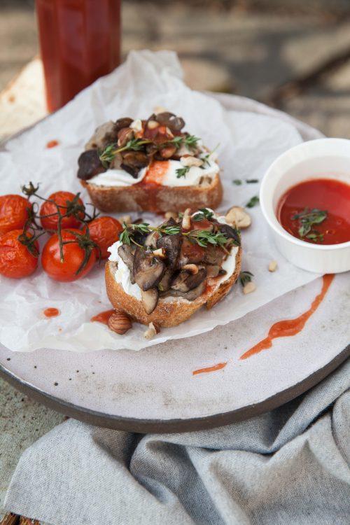 Bild für Pilz Bruschetta mit Fruchtsaft
